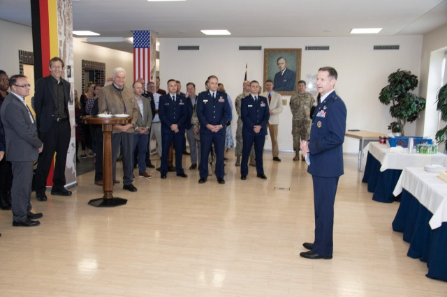 GARMISCH-PARTENKIRCHEN, Germany -- Retired U.S. Air Force Brig Gen Dieter Bareihs, Marshall Center's U.S. Deputy Director, talks about the past, present and future importance of the U.S. Air Force at the U.S. Air Force 72nd Birthday Celebration held at the George C. Marshall European Center for Security Studies Sept. 19. (DOD photo by U.S. Army Master Sgt. Corey Dennis/RELEASED)