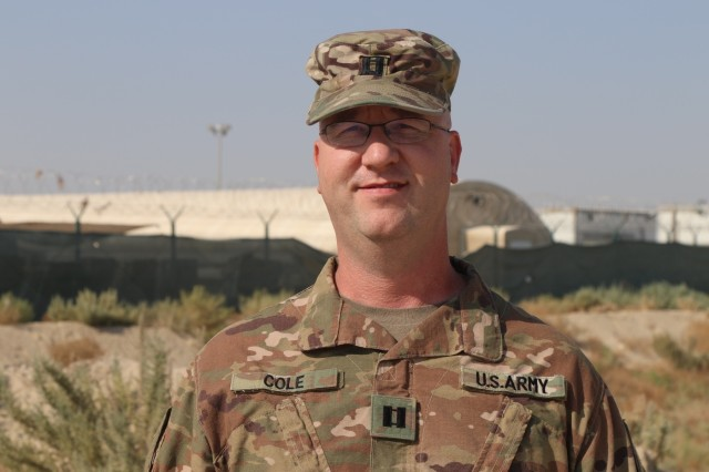 Indiana National Guard Capt. Adam D. Cole poses for a photo at Camp Arifjan, Kuwait, Sunday, Sept. 22, 2019. More than 600 National Guard soldiers with the 38th Infantry Division departed the Hoosier State in May to support Task Force Spartan in the Middle East. The division soldiers facilitate theater security cooperation activities such as key leader engagements, joint exercises, conferences and disaster response planning with partnered nations throughout the region.