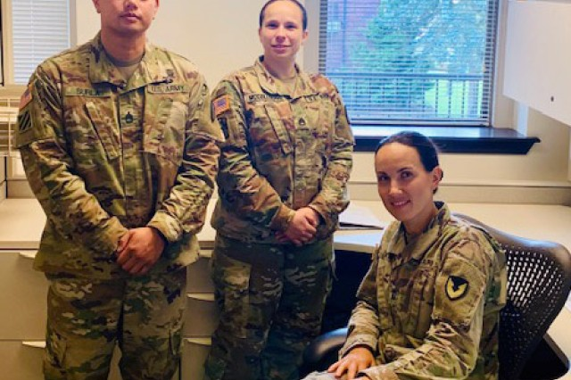 From left, Sgt. 1st Class Justino Surla, Staff Sgt. Alicia McCollough and Capt. Elena Smith of the 625th Contracting Team at Joint Base Lewis-McChord, Washington, provide continuous field ordering officer support for tenant special operations forces in Bangladesh, Japan, Mongolia, Nepal, the Philippines, Taiwan and Thailand. Surla is the field ordering officer program manager and NCO in charge of the team, McCollough is a contract specialist and Smith is a contract management officer, all assigned to the Mission and Installation Contracting Command's 902nd Contracting Battalion at JBLM.