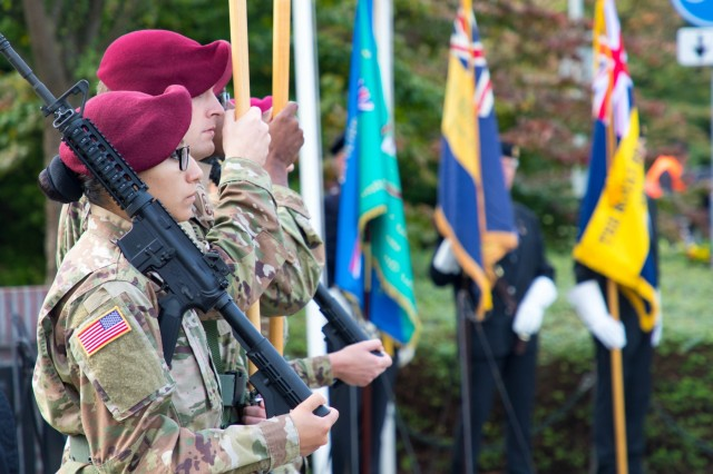 Members of the 82nd Airborne Division's color guard present the colors at the General Gavin Monument Commemoration, September 17, 2019, at Groesbeek, the Netherlands. This year marks the 75th anniversary of Operation Market Garden in the Netherlands. Commemorations honoring the Allied soldiers who participated in the historic airborne operation which liberated several Dutch towns take place Sept. 14-22, 2019. (U.S. Army photo by Pfc. Michael Ybarra)