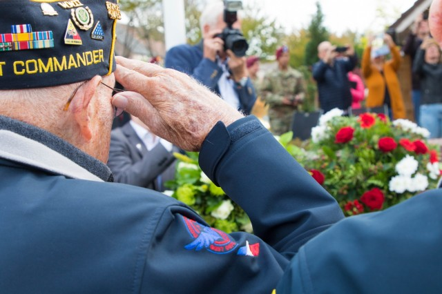 U.S. Army WWII veterans of the 501st Airborne Infantry Division salute the General Gavin Monument, September 17, 2019, at Groesbeek, the Netherlands. This year marks the 75th anniversary of Operation Market Garden in the Netherlands. Commemorations honoring the Allied soldiers who participated in the historic airborne operation which liberated several Dutch towns take place Sept. 14-22, 2019. (U.S. Army photo by Pfc. Michael Ybarra)