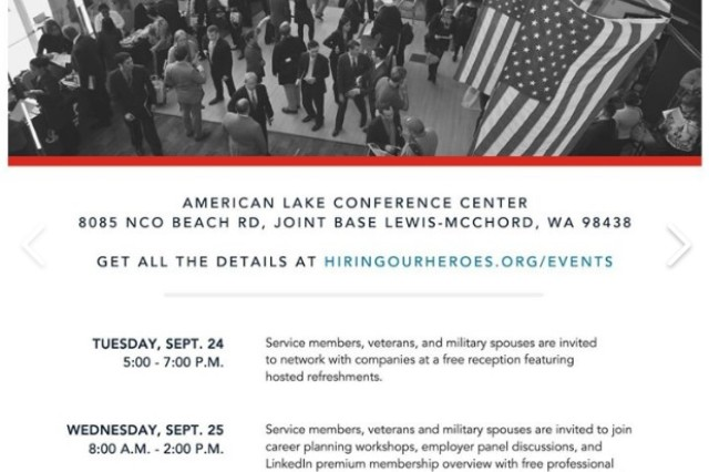 Joint Base Lewis-McChord hosts 6th annual Hiring Our Heroes Career Summit Sept. 24-25 on Lewis North.