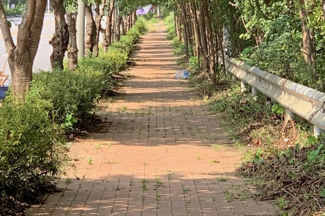 Members of Eighth Army Protocol cleaned this sidewalk area near Dongchangri gate this past week. Every year Eighth Army Protocol volunteers to take a day to improve and/or support the local community.