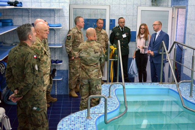VIPs attending the 27th annual Multinational Military Medical Engagement in Lviv, Ukraine, are given a tour Sept 18. of the Military Medical Center of Western Region.