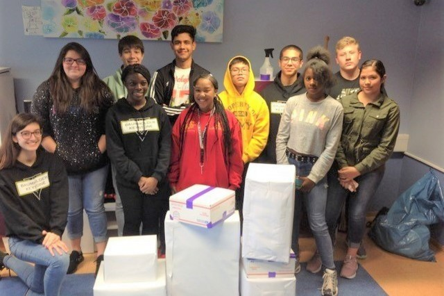 Members of the Baumholder Keystone Club package their first shipment of hurricane relief supplies to be sent to the Bahamas Sept. 19 at Wetzel Teen Center. The Keystone Club holds a collection drive through Dec. 1 for an orphanage that was ravaged by Hurricane Dorian.