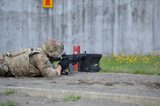 Staff Sgt. David Egersdorf shoots his weapon during the marksmanship challenge during the Army's CSM Jack L. Clark Jr. Army Best Medic Competition, hosted by the U.S. Army Medical Command, at Joint Base Lewis-McChord, Washington, Sept. 24-27, 2019.Twenty-seven two-Soldier teams from all around the world traveled to Washington state to compete in the finals to be named the Army's Best Medic. The competition is a 72-hour arduous test of the teams' physical and mental skills. Competitors must be agile, adaptive leaders who demonstrate mature judgement while testing collective team skills in areas of physical fitness, tactical marksmanship, leadership, warrior skills, land navigation and overall knowledge of medical, technical and tactical proficiencies through a series of hands-on tasks in a simulated operational environment.