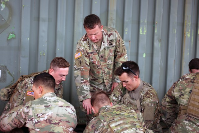 Members of the 1-303rd Cavalry Squadron receive tactical combat casualty care instruction at a course provided by the Washington State Counterdrug Program. The focus is on the primary interventions provided for the leading causes of preventable death. Utilizing a mix of classroom presentation and hands-on skills practice, attendees will be exposed to a unique training environment which will enable them to provide basic life-sustaining treatments in a hostile environment.