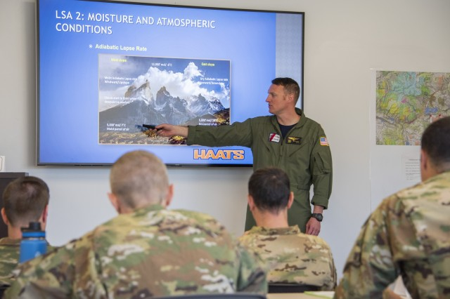 An instructor pilot from the Coast Guard teaches a classroom portion of the weeklong training program at the High-Altitude Army National Guard Aviation Training Site in Gypsum, Colo., Aug. 26, 2019. The only aviation school of its kind in the Defense Department, HAATS instructs about 350 students per year across the U.S. military as well as from foreign militaries. It is mainly run by full-time Colorado Army National Guard Soldiers.