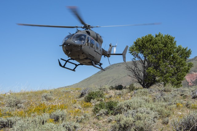 Students practice landing on mountainous terrain during the weeklong training program at the High-Altitude Army National Guard Aviation Training Site in Gypsum, Colo., Aug. 27, 2019. The only aviation school of its kind in the Defense Department, HAATS instructs about 350 students per year across the U.S. military as well as from foreign militaries. It is mainly run by full-time Colorado Army National Guard Soldiers.