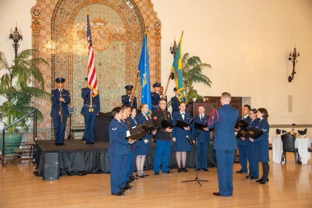 The 517th Training Group held their annual Air Force Ball for the 72nd birthday of the United States Air Force with at Naval Support Activity Monterey's Herrmann Hall, Sept. 20. The Air Force color guard displayed the colors as a choir sang a rendition of the national anthem.
