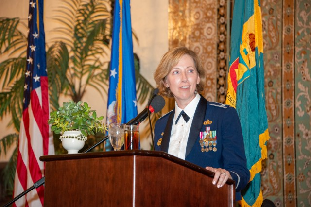 Defense Language Institute Assistant Commandant Col. Stephanie Kelley speaks to the 517th Training Group as they celebrate the 72nd birthday of the United States Air Force with a ball at Naval Support Activity Monterey's Herrmann Hall, Sept. 20.