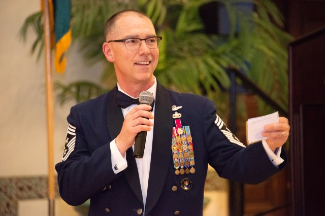 Guest Speaker Chief Master Sgt. Roger Towberman, senior enlisted adviser at Air Force Space Command, spoke about his early days as a Defense Language Institute student and the mission of the Air Force during the 72nd birthday of the United States Air Force at Naval Support Activity Monterey's Herrmann Hall, Sept. 20.