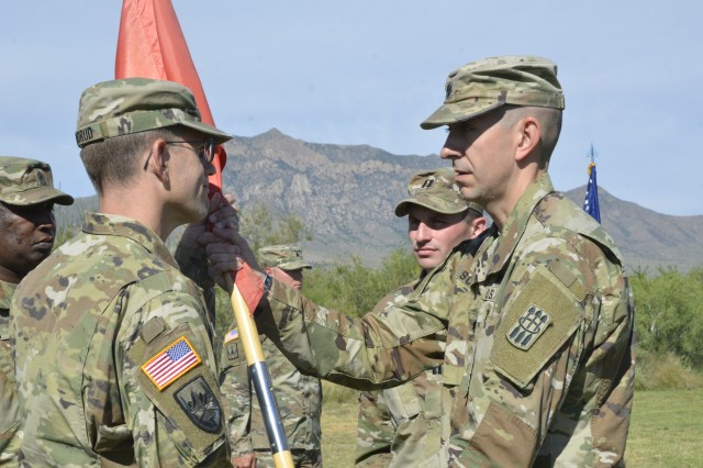 Maj. Benjamin W. Klandrud assumed command of the 3rd Battalion, 6th Air Defense Artillery Air Missile Defense Test Detachment during a change of command ceremony Sept. 26, 2019 at White Sands Missile Range. The ceremony was hosted by Lt. Col. Joseph C. Scott, the 3rd Battalion, 6th Air Defense Artillery Battalion Commander.