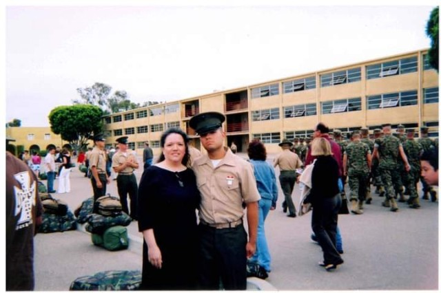 Linda Rice with her late son Sgt. Wesley Rice after graduating from boot camp at Camp Pendleton. Rice is involved with the Gold Star community to give other members hope. Courtesy photo