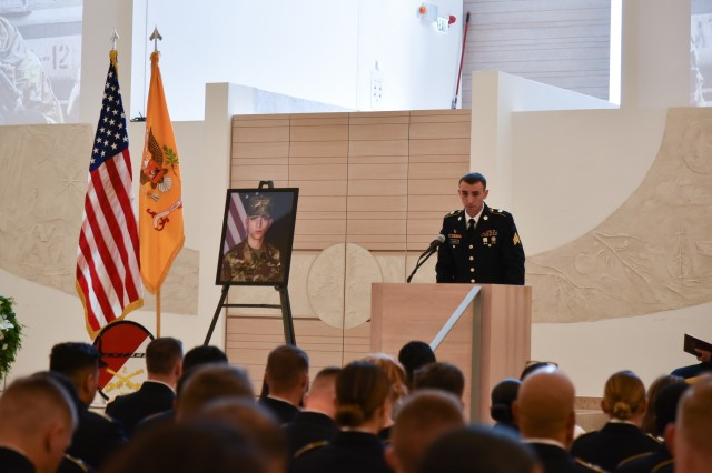 Sgt. Aaron Morin speaks about his battle buddy, Pfc. Tyler Gorentz, at his memorial in Germany on July 16, 2019. Courtesy photo.