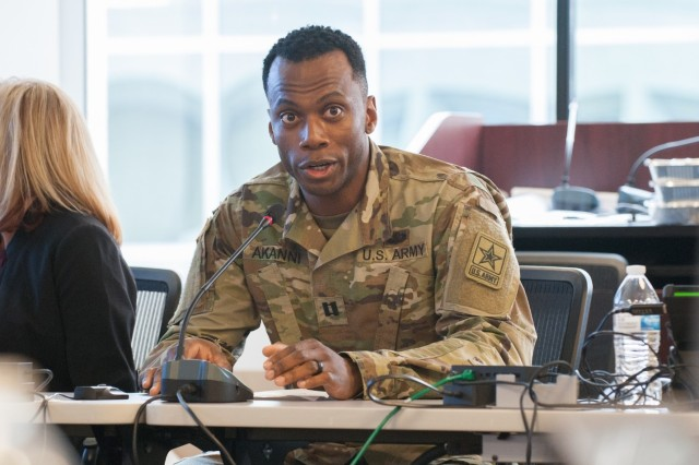Capt. Olumide Akanni, Talent and Strength Management Support Officer for the Functional Management Division at Integrated Personnel and Pay System-Army (IPPS-A) addresses stake holders during a stakeholder review hosted at the IPPS-A headquarters in Crystal City, VA. During these Reviews, the presenters from each team demonstrate features of the system and their functionality. They demonstrate these features and functionality by making use of scenarios that were previously developed to replicate real-world examples of how IPPS-A will improve the quality of life for all Soldiers.