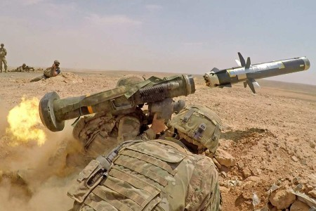 Infantry Soldiers fire an FGM-148 Javelin during a combined arms live-fire exercise in Jordan, Aug. 27, 2019, in support of Eager Lion. Soldiers from 1st Battalion, 8th Infantry Regiment, 3rd Armored Brigade Combat Team, 4th Infantry Division participated in Eager Lion, U.S. Central Command's largest and most complex exercise. It is an opportunity to integrate forces in a multilateral environment, operate in realistic terrain and strengthen military-to-military relationships.