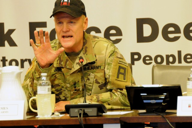 First Army Commanding General, Lt. Gen. Thomas James Jr., talks about the importance of Army Total Force Policy while welcoming attendees to the First Army Command Team Certification on Rock Island Arsenal, Ill.