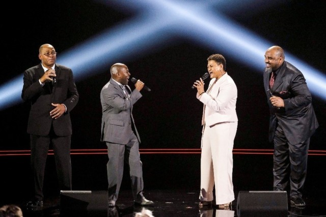 America's Got Talent September 2019. Voices of Service (left to right) retired Master Sgt. Caleb Green, retired Staff Sgt. Ron Henry, Sgt. Maj. Christal Rheams and Sgt. 1st Class Jason Hanna; perform on an episode of America's Got Talent that aired in September 2019.