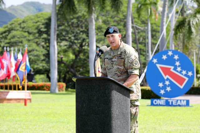 Gen. Robert B. Brown, outgoing commander of U.S. Army Pacific, speaks to attendees during a farewell ceremony, Sept. 27, 2019 at historic Palm Circle on Fort Shafter, Hawaii. During the ceremony, friends, family, and fellow Soldiers bid Brown a farewell and wished him luck on his future endeavors.