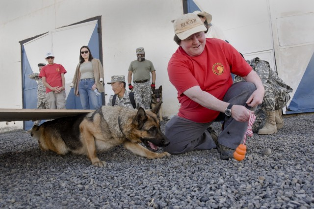 "Debra Gillis, a volunteer with Alaska Search and Rescue Dogs, helps train and assist members of the National Emergency Management Agency (NEMA) rescue unit, Sept. 9, 2019, as part of Gobi Wolf 19 in Sainshand, Mongolia. GW 19 is hosted by the Mongolian National Emergency Management Agency and Mongolian Armed Forces as part of the United States Army Pacific's humanitarian assistance and disaster relief ""Pacific Resilience"" series."