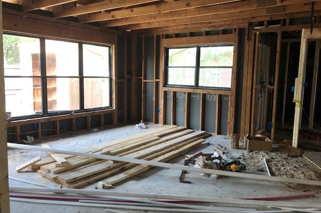 A duplex home is under renovation on Provider Street in the Pope neighborhood.  This renovation is part of a $100 million investment Corvias in making in Fort Bragg's housing.
