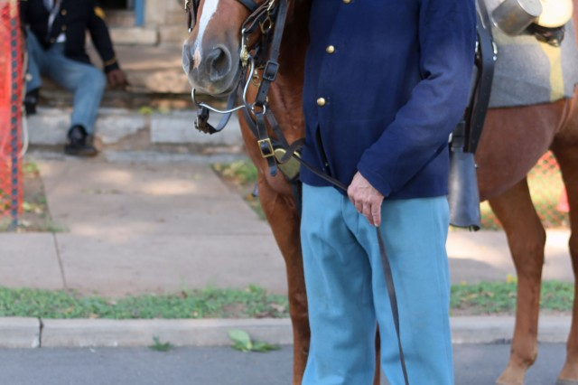 Fort Sill Museum volunteer Rod Peppel and Remedy, an 18-year-old American quarter horse, get ready to greet school groups at the Frontier Army Days cavalry station.