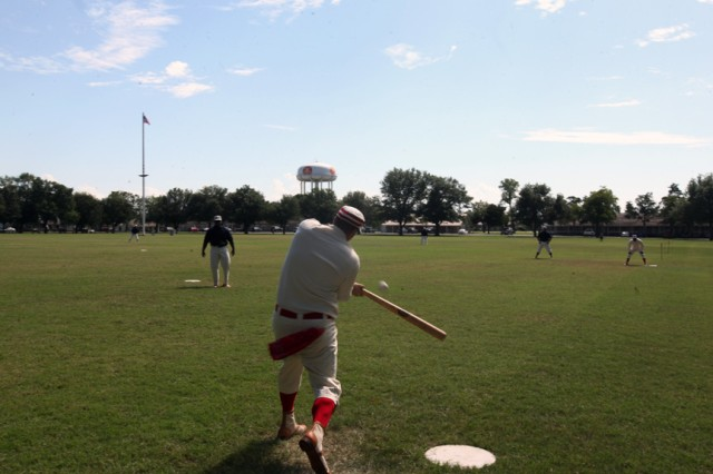 As part of Frontier Army Days an old time baseball game was played between the Fort Sill Cannonballs and the Troop L Indians Sept. 28, 2019, at Old Post Quadrangle. It was reminiscent of games played between Fort Sill Soldiers and local Native Americans in the early 1900s. The Cannonballs won 14-7.