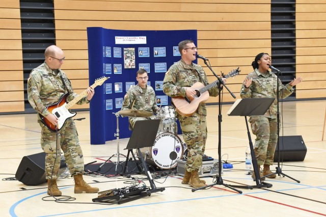 The U.S. Army Europe Band and Chorus perform at the Women's Equality Observance Aug. 26, 2019 at the fitness center on Clay Kaserne.