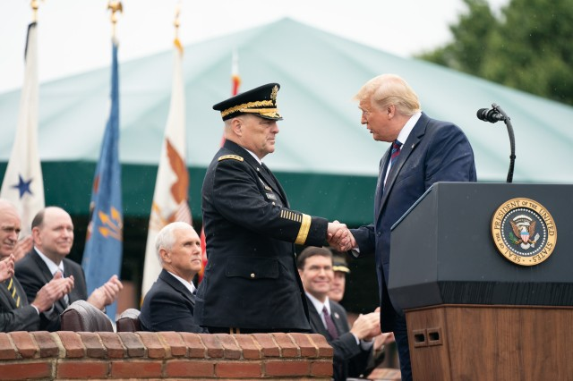 President Donald J. Trump shakes hands with Army Gen. Mark A. Milley upon the latter's assumption of office as the 20th chairman of the Joint Chiefs of Staff during a ceremony at Joint Base Myer-Henderson Hall, Va., Sept. 30, 2019.
