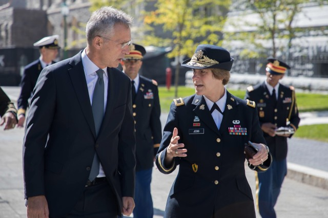 NATO Secretary General Jens Stoltenberg visited the United States Military Academy.  He talked with cadets and ended his visit with a question and answer session moderated by Lt. Gen. (R) Douglas Luke.  The event was held at Robinson auditorium, West Point, New York on September 25, 2019. (U.S. Army photo by Tarnish Pride)