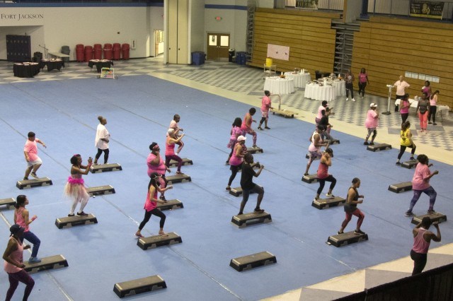 Roughly 50 Soldiers, civilians and their Family members participated in a three-hour aerobathan Sept. 21 at the Solomon Center to bring awareness to breast cancer and the need to perform monthly self-breast exams. The annual event has been a Fort Jackson staple for the past 10 years where participants are offered a chance to take part in a three-hour aerobic workout to high octane music, snacks, free messages and camaraderie.