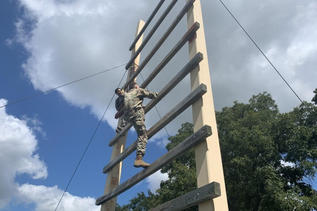 A Cameron University Army ROTC cadet climbs the ladder obstacle at the Combat Confidence Course Sept. 19, 2019, at Fort Sill, Okla. 1st Battalion, 79th Field Artillery partnered with CU to help prepare the cadets for their Ranger Challenge.