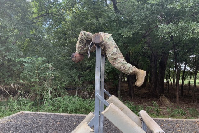 A Cameron University Army ROTC cadet goes through a station at the Combat Confidence Course Sept. 19, 2019, at Fort Sill, Okla. 1st Battalion, 79th Field Artillery partnered with CU to help prepare the cadets for their Ranger Challenge.