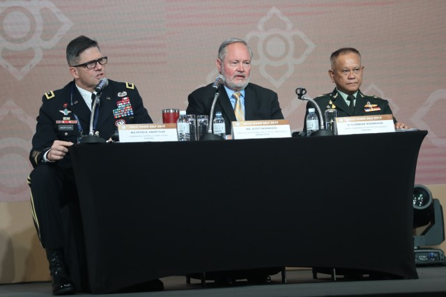 """From left to right, Maj. Gen. Peter B. Andrysiak, U.S. Army Alaska commanding general; Scott Norwood, U.S. Army Pacific strategic effects director; and Gen. Somsak Roongsita, Deputy Permanent Secretary for Defence, Thai Ministry of Defencespeak during the 43rd Indo-Pacific Armies Management Seminar hosted by the Royal Thai Army and U.S. Army held in Bangkok, Thailand, Sept. 9, 2019. IPAMS is an annual forum for senior level officers from the regional armies and security forces to meet, exchange views and discuss professional military subjects. This year's theme """"Achieving Sustainable Security: A New Perspective for Indo-Pacific Armies."""""""