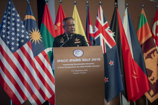 """Gen. Somsak Roongsita, Deputy Permanent Secretary for Defence, Thai Ministry of Defence, speaks during the 43rd Indo-Pacific Armies Management Seminar hosted by the Royal Thai Army and U.S. Army held in Bangkok, Thailand, Sept. 9, 2019. IPAMS is an annual forum for senior level officers from the regional armies and security forces to meet, exchange views and discuss professional military subjects. This year's theme """"Achieving Sustainable Security: A New Perspective for Indo-Pacific Armies."""""""