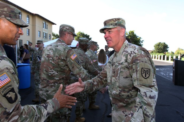 Brig. Gen. Russell Johnson receives well-wishers after his farewell ceremony Oct. 2, 2019, at Fort Sill. He was leaving as the Army National Guard deputy commanding general (field artillery). It was a position he held over two years.