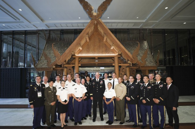 Gen. Robert B. Brown, U.S. Army Pacific commanding general, and Regional Leader Development Program students pose for a photo Sept. 11 at the 2019 Indo-Pacific Armies Chiefs Conference/Indo-Pacific Armies Management Seminar/Senior Enlisted Leaders Forum held in Bangkok, Thailand. The RLDP is a strategic leadership studies program offering 3-6-week courses that educates mid-grade Army, joint and multi-national leaders (commissioned officers, non-commissioned officers and civilians) on regional complexities associated with the Indo-Pacific Theater.