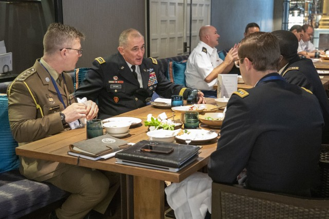 Gen. Robert B. Brown, U.S. Army Pacific commanding general, talks to the Regional Development Program students from U.S. Army and Australian Army at the 2019 Indo-Pacific Armies Chiefs Conference/Indo-Pacific Armies Management Seminar/Senior Enlisted Leaders Forum luncheon Sept. 11 held in Bangkok, Thailand. The RLDP is a strategic leadership studies program offering 3-6-week courses that educates mid-grade Army, joint and multi-national leaders (commissioned officers, non-commissioned officers and civilians) on regional complexities associated with the Indo-Pacific Theater.