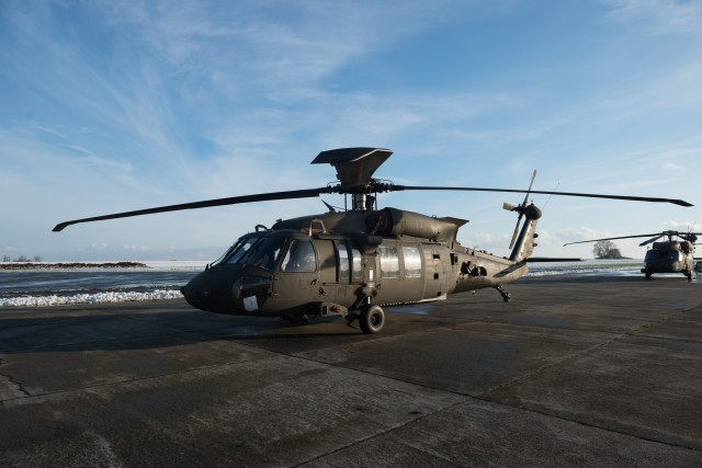 U.S. Army UH-60M Black Hawk helicopter from the 1st Combat Aviation Brigade