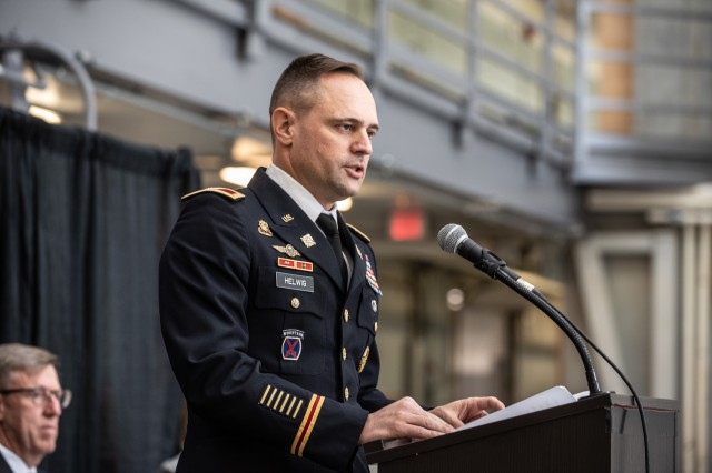Army Col. Jared Helwig, U.S. Army Chief of Transportation speaks to the crowd about the Army's newest watercraft, the Maneuver Support Vessel (Light) during a ceremony in Vancouver, Wa. on Sept. 16, 2019.