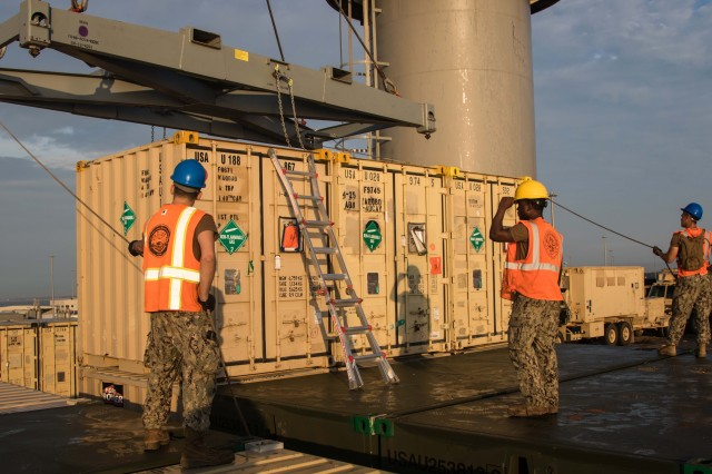 Sailors assigned to Navy Cargo Handling Battalion 1 unload Army equipment belonging to the 4th Infantry Brigade Combat Team, 25th Infantry Division, during Rapid Port Opening operations as part of a joint readiness exercise in Gulfport, Miss., Sept. 18, 2019. These operations ensure a port's ability to rapidly open and unload military equipment anywhere in the world.