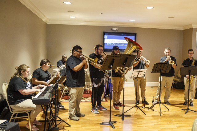 The Latin Jazz Ensemble from Jacksonville State University performed during Anniston Army Depot's Hispanic Heritage Month Luncheon Sept. 24.
