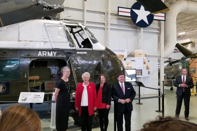Left to Right: Niece of the late Ltc. Howell (Ike's pilot) Gov. Kay Ivy, Congresswoman Martha Roby (AL) and Stewart McLaurin. Standing in front of the Presidential Helicopter.