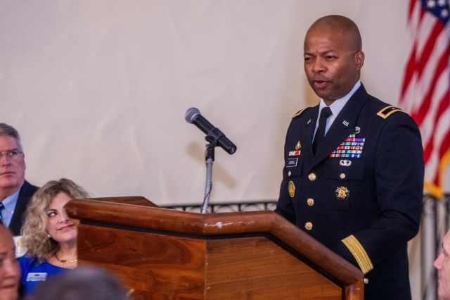 FORT BENNING, Ga. -- Brig. Gen. Kevin Admiral, commandant of the U.S. Army Armor School at Fort Benning, speaks at a brunch event at the Benning Club. The mothers of military service members who lost their lives in service to their country, their Family members, and leadership at Fort Benning and Columbus, Georgia, gathered at the Benning Club Sept. 29 for Fort Benning's Mothers Recognition Brunch. (U.S. Army photo by Patrick Albright, Maneuver Center of Excellence, Fort Benning Public Affairs)
