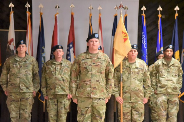 Capt. Sebastian D. Armentrout, new U.S. Army Garrison Rheinland-Pfalz Headquarters, Headquarters Company commander stands in formation at his change of command ceremony Oct. 4 at Kazabra Club, Vogelweh. Armentrout accepted command from Capt. Stephanie R. Correa, who served as the company's commander for the past 15 months.
