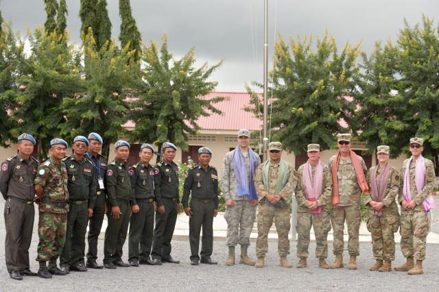 Idaho National Guard Soldiers and Airmen participated in a subject-matter expert exchange Sept. 16-20 at the United Nations Peacekeeping Operations center with members of the Royal Cambodian Armed Forces.  The mission was part of the National Guard's State Partnership Program and included a team of four Idaho Army National Guard Soldiers and two 124th Fighter Wing Airmen. Soldiers and Airmen spent the week training with members of Cambodia's peacekeeping directorate who are preparing to deploy to several countries as part of the National Center for Peacekeeping, Mines, and Explosive Remnants of War Clearance program. More than 70 NPMEC Soldiers made up three groups consisting of an engineer, medical and leadership engagements.