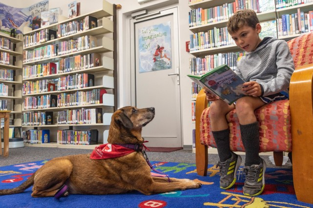 A young boy named Patrick reads aloud to a dog named Penny during the bimonthly Pets and Warriors (PaWs) program at Wiesbaden Library on Clay Kaserne, Wiesbaden, Germany, October 2, 2019. The PaWs program is held by the American Red Cross and features Penny, a dog certified by the Canine Good Citizen Test (CGC) sponsored by the American Kennel Club. (U.S. Army Photo by Pfc. Laurie Ellen Schubert, 5th Mobile Public Affairs Detachment)