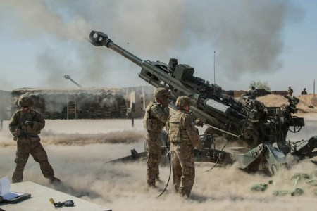 In support of the Iraqi Security Forces, Soldiers fire their M777 towed 155 mm Howitzer at Qayyarah West Airfield, Iraq, Sept. 10, 2019. Soldiers assigned to 2nd Battalion, 8th Field Artillery Regiment, 1st Brigade Combat Team, 25th Infantry Division, conduct a fire mission to disrupt known enemy positions on Qanus Island, Iraq. As long as Daesh still poses a danger to the security of Iraq and northeast Syria, the Government of Iraq and ISF partners, supported by Combined Joint Task Force-Operation Inherent Resolve, will continue to strike and ensure the military defeat of Daesh.