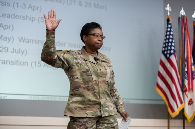 Brig. Gen. Twanda (Tia) Young, Deputy Commanding General, U.S. Army Human Resources Command, discusses the activation of the new Reserve Personnel Management Directorate (RPMD) at HRC during a town hall for the HRC workforce, held on Fort Knox, Ky., Oct. 2, 2019. Young who will also serve as the director of RPMD, explained how establishing one directorate to manage Army Reserve including Active Guard Reserve (AGR) Soldiers will provide one central point for lifecycle management. (U.S. Army photo by Mark Webber)